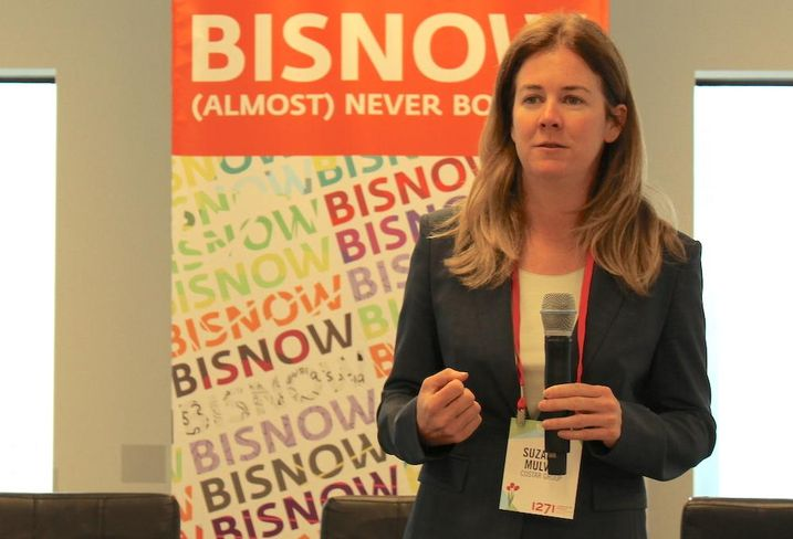 CoStar director of retail research Suzanne Mulvey speaking at Bisnow's National Retail Series in Manhattan, April 4, 2017