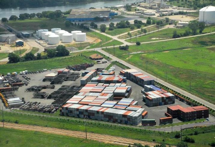 A 19-acre container and truck yard in Chanhannon, IL