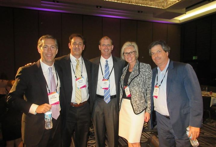 National Retail West Event, LA Regency Centers senior market office John Mehigan, Brixmor Property Group president Matthew Berger, Allen Matkins partner Drew Emmel, The Irvine Co. vice president Lori Pawley and Newmark Merrill CEO Sandy Sigal