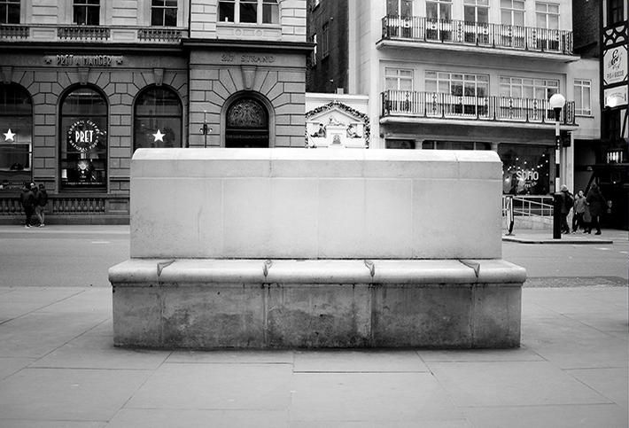 Bench with spikes at the Royal Courts of Justice in London