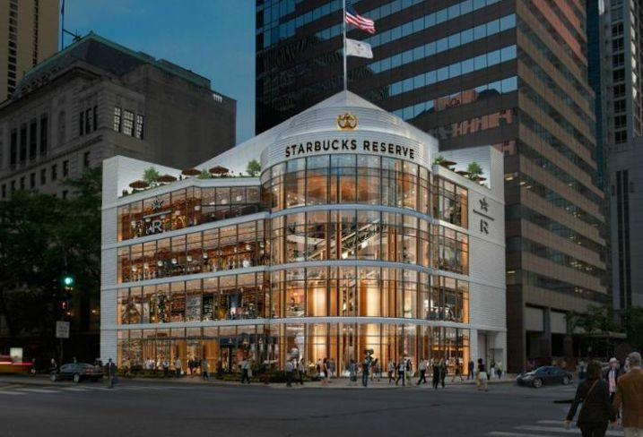 A rendering of a Starbucks Reserve Roastery planned for Michigan Avenue and Erie Street.
