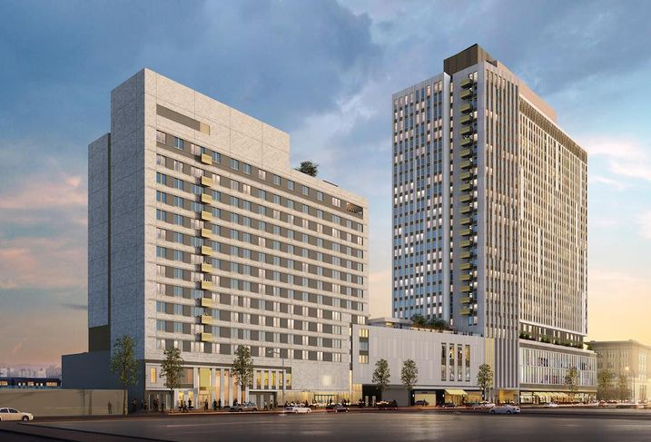 Rendering of BRP Companies' The Crossing at Jamaica Station mixed-use project in Queens