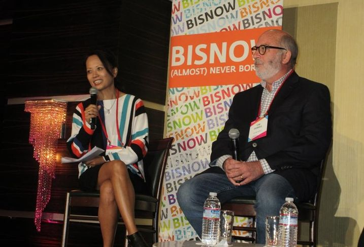 Architects Orange Hospitality Designer Lalaine Tanaka with Hilton vice president Tim Powell at BLIS.