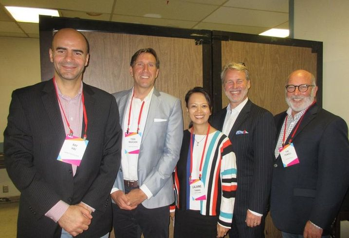 Swinerton Builders vice president Ray Haj, Lowe Enterprise vice president Todd Majcher, Architects Orange Hospitality Designer Lalaine Tanaka, TOTO USA William Strang and Hilton vice president Tim Powell at BLIS.