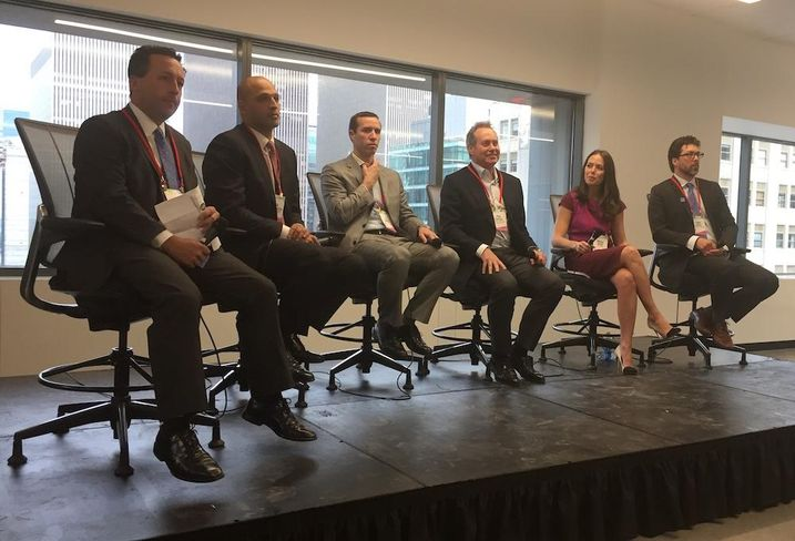 Anchin, Block & Anchin's Robert Gilman, Forest City's Ali Esmaeilzadeh, RFR's AJ Camhi, Taconic Investment Partners' Paul Pariser, Breather's Maggie Burns and Code Green Solutions' Chris Cayten