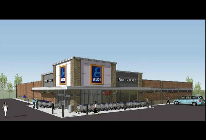 A rendering for a future Aldi supermarket at 5501 South Harlem Ave., Chicago