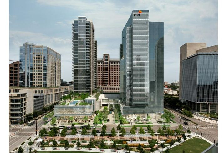 The 20-story tower is about 44% leased to anchor tenant PricewaterhouseCoopers and will deliver in January 2018 after topping out in April. PwC tower has 3:1,000 SF parking patios and five balconies for tenant use. Developer Trammell Crow remains busy with tenant interest, Trammell Crow project coordinator Mallory Mullen said. The adjacent 33-story residential tower has seen a lot of interest in its 228 units, thanks in part to the resort-style pool with killer views of Klyde Warren Park, Mullen said.