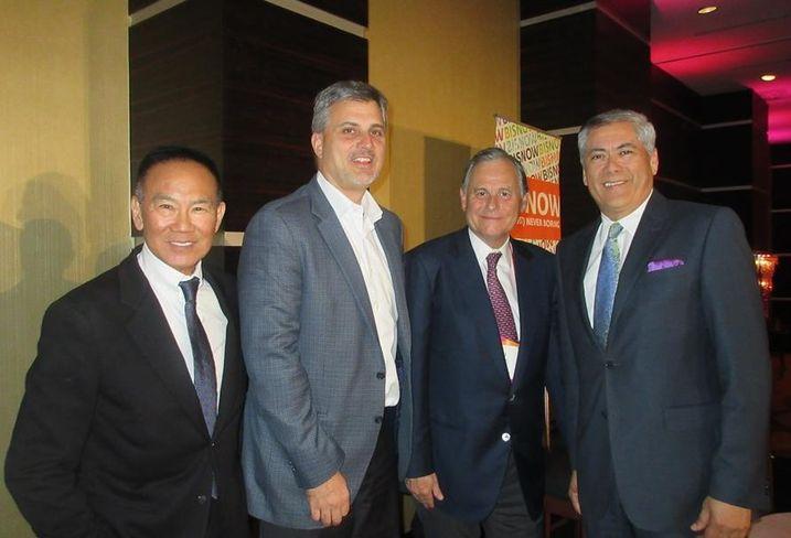 Gensler principal Tom Ito, Oasis West Realty president Ted Kahan, Bentley Management CEO Ali Kasikci and Ritz Carlton vice president Javier Cano at BLIS.