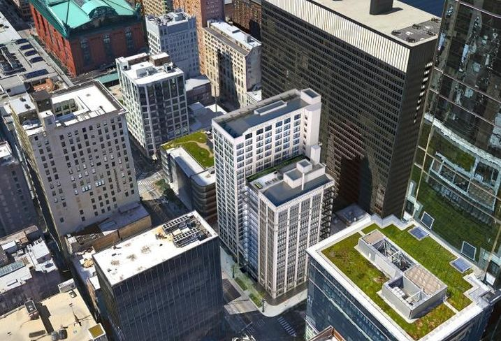 An aerial rendering of CA Ventures' plans to rehab 202 and 220 South State Street.