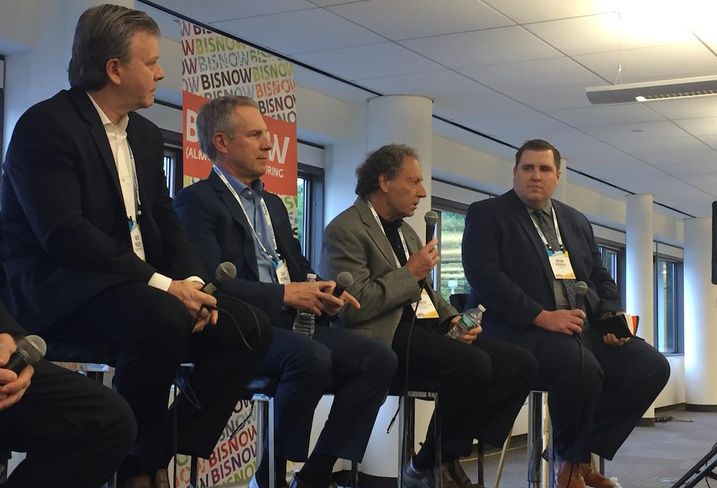 David Parisier, Glen Ventromile, Clay Fowler and Brian DiPaola at Bisnow's Westchester Fairfield State of the Market