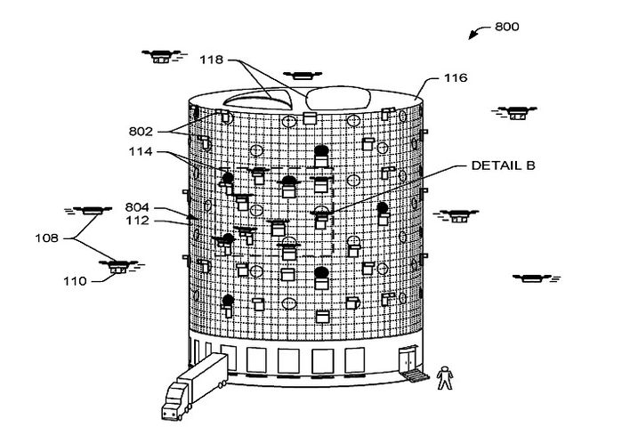 A rendering of Amazon's beehive-style drone fulfillment center.