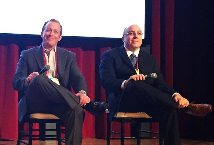 Edison Properties EVP of redevelopment Michael Sommer and  HFF senior managing director Jose Cruz at Bisnow's Repositioning and Redeveloping New Jersey event at Bell Works