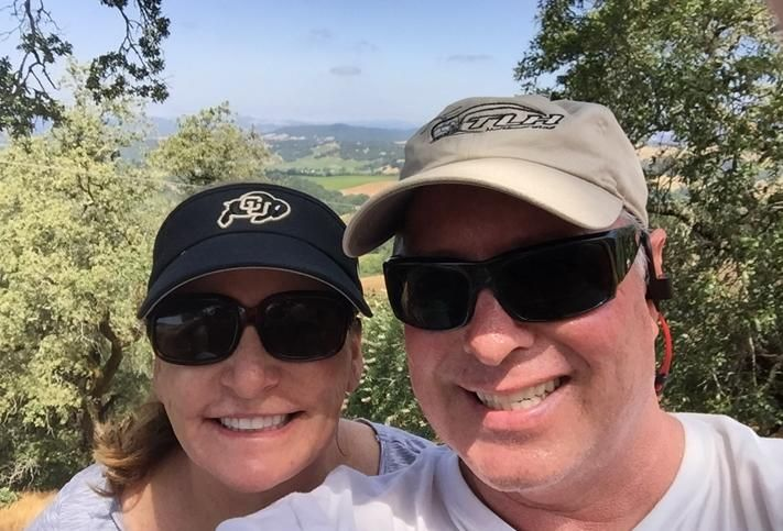 Dan Riley with his wife, Kay Riley, hiking in the hills of Healdsburg, CA overlooking the Russian River.