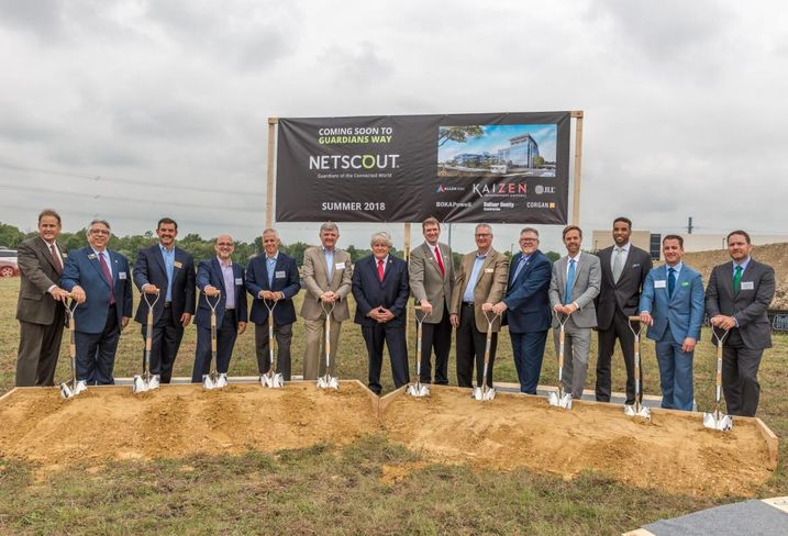 Netscout Systems broke ground Wednesday on its new 145K SF office in Allen. The company will leasing the Class-A three-story building will open summer 2018. Kazien Development Partners is developing this facility and One Bethany East next door. Both projects share the same architects and general contractor: BOKA Powell and Balfour Beatty. JLL represented Netscout and Kaizen Development Partners on this transaction.