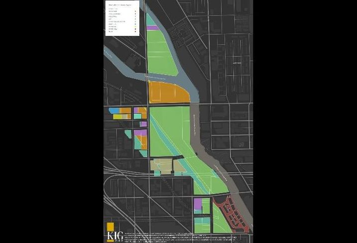 A map of available land on the North Branch Industrial Corridor's lower portion, and who controls it.