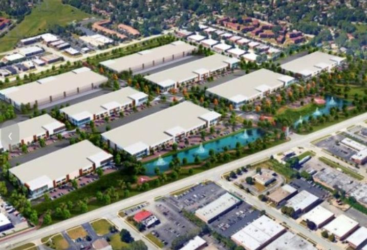 An aerial rendering of Elk Grove Technology Park