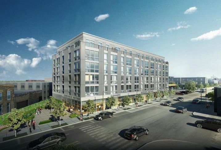 A rendering of Savoy Development's 138-unit microapartment development in Logan Square.