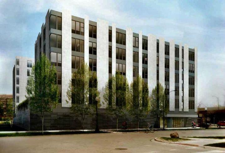 A rendering of Property Markets Group's University Village multifamily development near the University of Illinois Chicago.