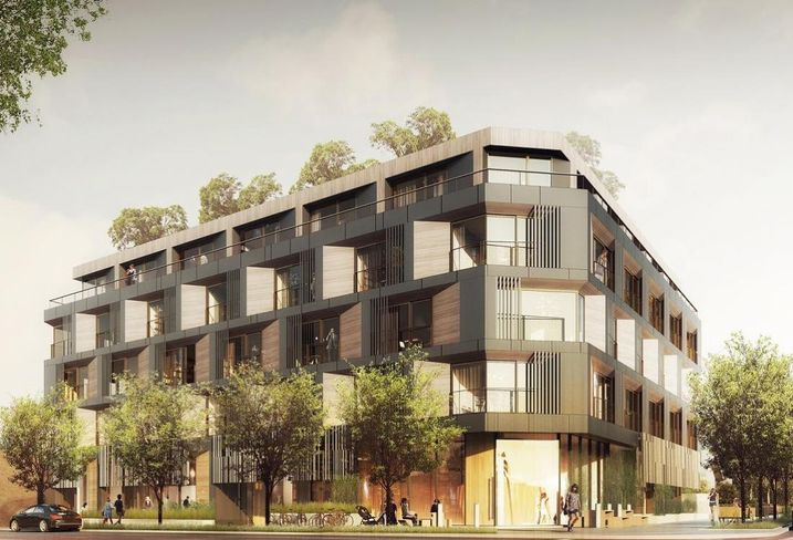 Rendering of mixed-use project at Santa Monica Boulevard and Barrington Avenue, LA