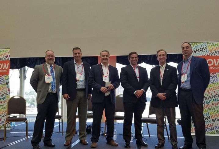 Andy Baxter, Principal, Science & Technology, Page; John Kolar,​ Vice President, Mission Critical Solutions, Kyoto Cooling; Alan North,​ Founder & President, NORLINX Systems; Matt Macnak,​ Manager, Critical Environment, QTS; Jim Leach, VP, Marketing, RagingWire Data Centers; and Ben Kaplan​, Senior ​VP, ​Global Critical Facilities​, Turner Construction Co., who moderated.