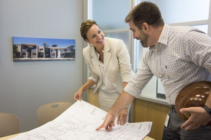 San Diego Housing Commission Executive Vice President and Chief Strategy Officer Debbie Ruane  Debbe Ruane, executive vice president and chief strategy officer for the San Diego Housing Commission, and Colin Mller, director of the SDHC affiliate Housing Development Partners, review an affordable housing blueprint.