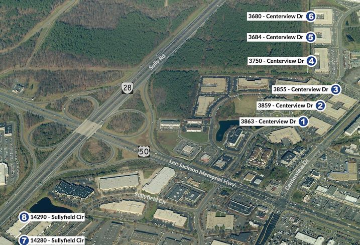 An aerial view of the Dulles Business Park
