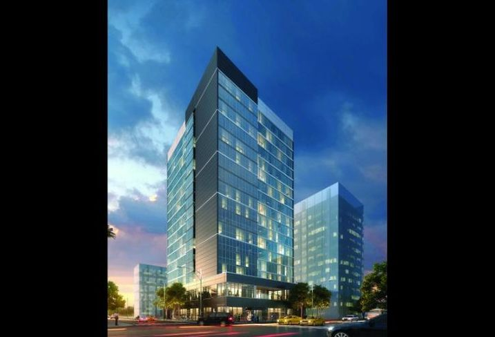 A rendering of Akara Partners' Home 2 Suites Hotel in River North.