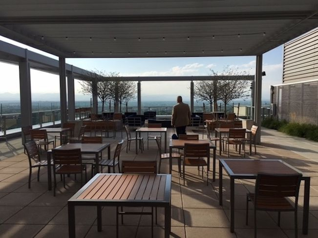 The rooftop deck at Colorado Center Tower 3 is ideal for corporate events