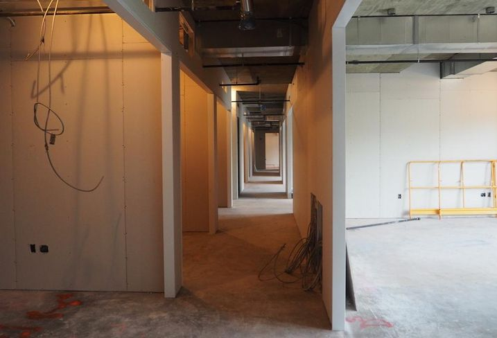 A corridor of offices in MakeOffices' new location at The Wharf