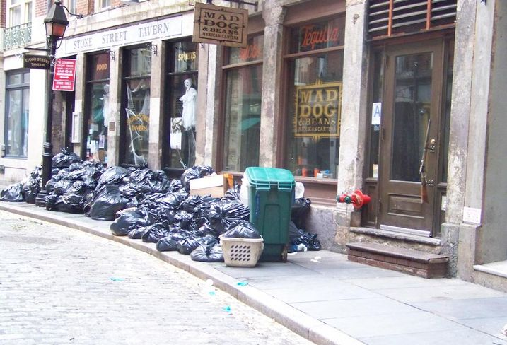 Garbage lined the streets of Lower Manhattan in the aftermath of Superstorm Sandy.