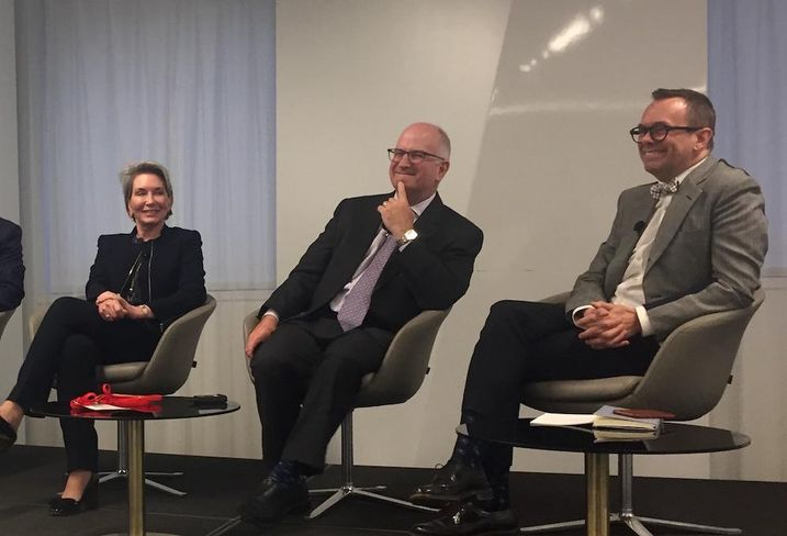 Children's National Health System Chief Strategy Officer Elizabeth Flury, UPenn Health System executive Kevin Mahoney and NBBJ Principal Bryan Langlands