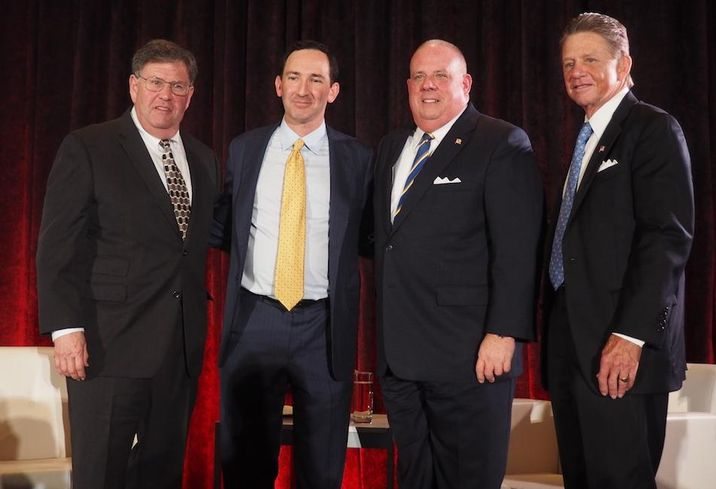 NKF's Greg Leisch and Sandy Paul, Gov. Larry Hogan and Akridge's Chip Akridge