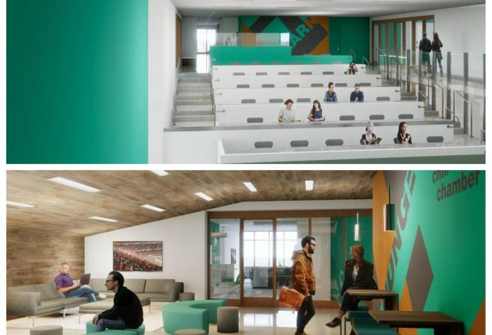 The Studio House lecture hall would sit above a lounge area.