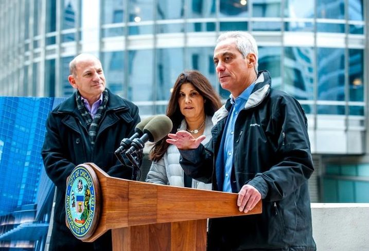 Belgravia Group CEO Alan Lev, Chicago Buildings Commissioner Judy Frydland, Chicago Mayor Rahm Emanuel