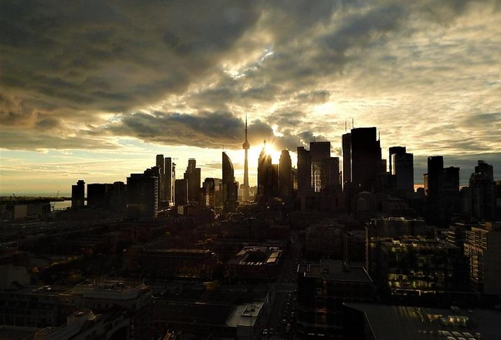 Toronto skyline night CN Tower downtown