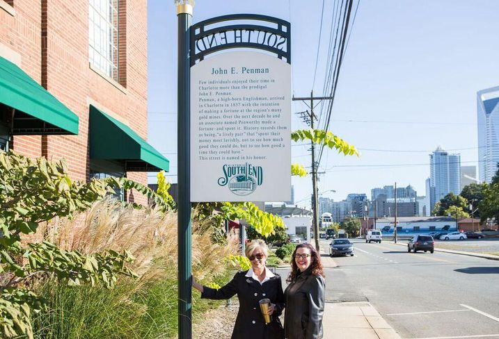 Wingate Advisory Group commercial broker and development consultant Caren Wingate and 5 Points Realty broker Liz Millsaps Haigler are Gold District board members. Mint Street, shown here, will become the area's Main Street, Wingate said.