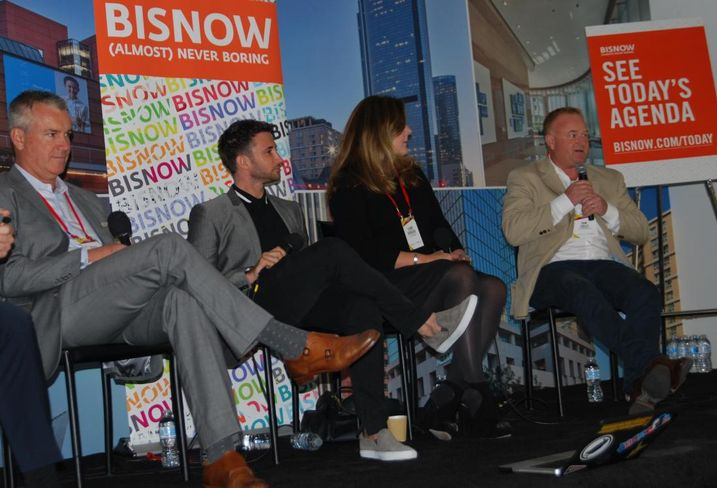 (From L to R) Merlone Geier Partners Executive Managing Director Scott McPherson, The Runyon Group Principal David Fishbein, C+C Venture Founder Clare DeBriere and StoreMatch Co-Founder Jon Sulley discuss the retail landscape at Bisnow's SoCal CRE Leadership Conference on Nov. 16 at 1 California Plaza in downtown Los Angeles.