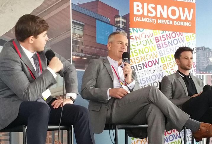 Bisnow's Kevin Morgenstern, Merlone Geier Partners Executive Managind Director Scott McPherson and The Runyon Group's Principal David Fishbein discuss the current retail industry at Bisnow's SoCal Leadership Conference on Nov. 16 at 1 California Plaza in downtown Los Angeles