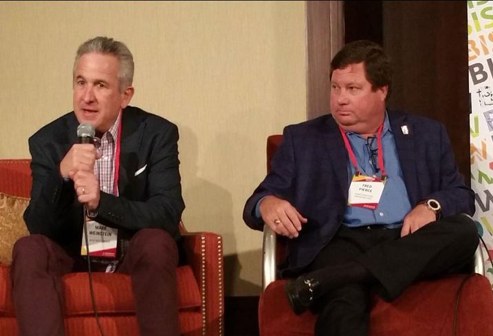 MJW Investments President Mark Weinstein and Pierce Education Properties CEO Fred Pierce discuss the state of the student housing market at Bisnow's Socal Student Housing & University Development panel held Nov. 30 at the Omni Los Angeles Hotel at California Plaza.