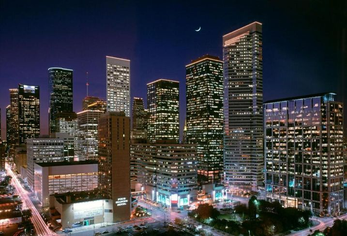 Houston Center at night