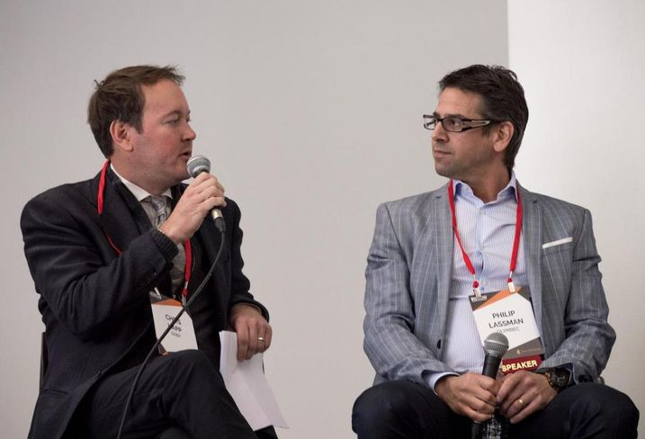 Goby Co-founder and CEO Chris Happ and Olymbec Senior Asset Manager, U.S. Properties Philip Lassman speaking at Bisnow's Big South Office Event