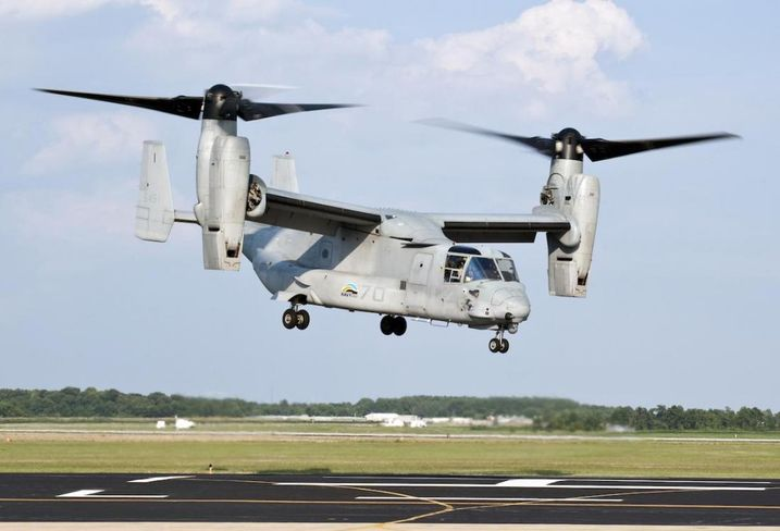 A military VTOL, the MV-22 Osprey
