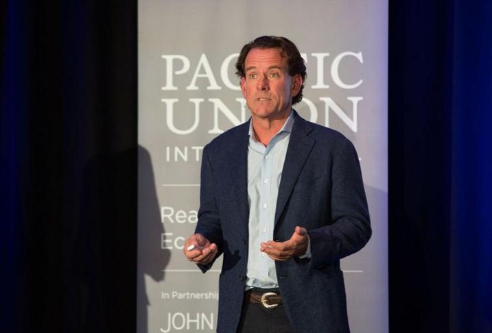 """Pacific Union CEO Mark A. McLaughlin discusses the current real estate market during the """"Pacific Union Real Estate Economic Forecast Los Angeles Area to 2020"""" Nov. 29, 2017 at the Skirball Cultural Center in Los Angeles."""