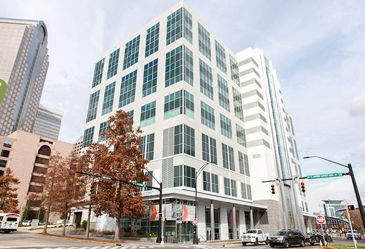 The former AT&T office tower uptown recently underwent a $15M renovation and now includes two floors of retail.