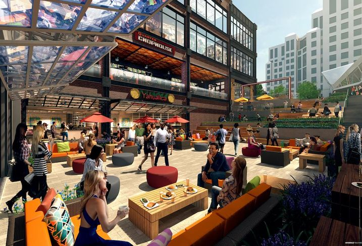 A rendering of the open-air plaza at Forest City's Ballston Quarter redevelopment