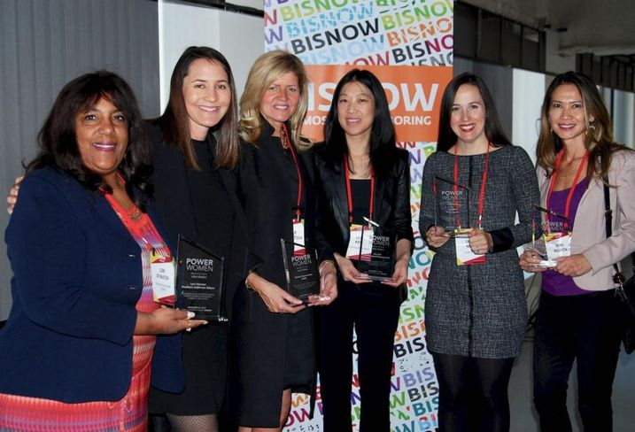 Southern California Edison's Lori Atwater, Brookfield's Marin Turney, CBRE's Natalie Bazarevitsch, AEW Capital Management's Lily Kao, Kilroy Realty's Sara Neff, and KBS Realty's Mimi Nguyen were honored at Bisnow's LA Power Women Series: Leaders In Commercial Real Estate held Dec. 13, 2017 at the Bank of America Plaza in Los Angeles.