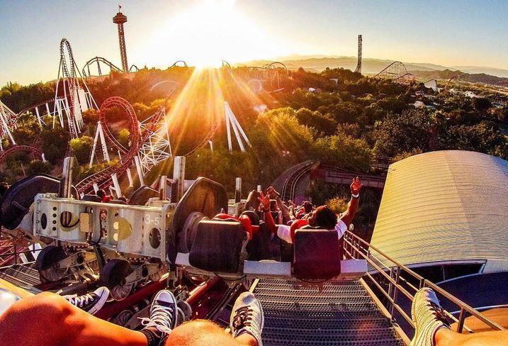 A view of Santa Clarita down below from a Six Flags Magic Mountain ride.