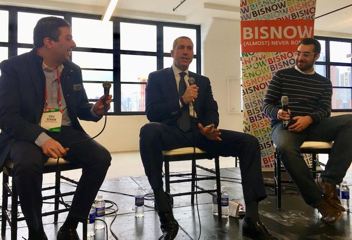 Modern Spaces CEO Eric Benaim, Metropolitan Realty Associates CEO Joe Farkas and Bisnow's Max Tawil at Bisnow's Long Island City State of the Market Dec. 5, 2017