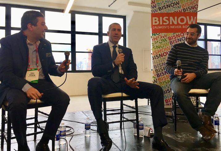 Modern Spaces CEO Eric Benaim, Metropolitan Realty Associates CEO Joe Farkas and Bisnow's Max Tawil at Bisnow's Long Island City State of the Market Dec. 5, 2017