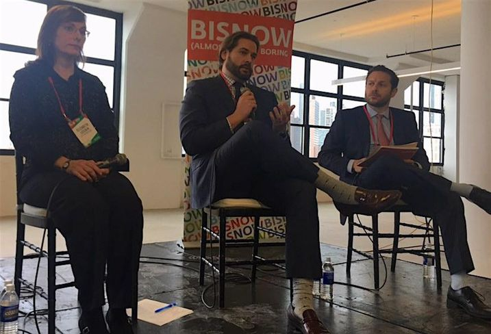 LIC Parnership President Liz Lusskin, Atlas Capital's Jay Fehskens and Eastern Consolidated's Chad Sinsheimer at Bisnow's Long Island City State of the Market event Dec. 6, 2017